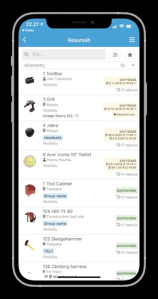 Trackinno kalustorekisteri mobiilissa käyttöliittymäkuva